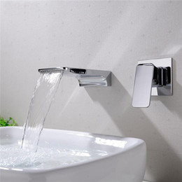 Contemporary walls online shopping - Contemporary into the wall Sink Faucets of hot and cold waterfall basin faucet dark wall water sink Faucet Single Holder Single Hole FFA2276