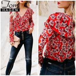$enCountryForm.capitalKeyWord NZ - Spring 2019 Women Flower Shirt Chiffon Ruffle Blouse Summer Elegant Women Blouses Ladies Office Shirt Mesh Tunic Tops with Print