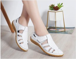 Comfortable Soft Women Shoes Australia - 2019 fashion Hollow out Genuine leather sandals flat summer shoes Soft bottom Women comfortable sandals Mother shoes flat Hole shoes