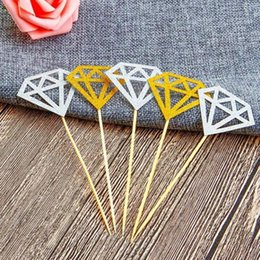 Wholesale 10Pc bag Wedding Cake Topper Decor Gold Glitter Diamond Crown Cupcake Toppers Wedding Ceremony Birthday Party Supplies LX6887