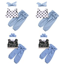 $enCountryForm.capitalKeyWord Canada - kids outfits clothes girls 2019 3pcs set summer Polka dot lace vest+jeans+hair bow headband baby tracksuit fashion deginer track suits sets