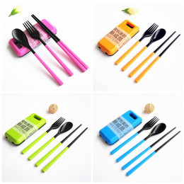 Small plaStic SpoonS online shopping - Outdoor Camping Tableware Plastic Dishware Fold Dinnerware Chopsticks Fork Spoon Travel Suit Activity Small Gift Blue ld C1