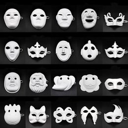 half face paint mask halloween UK - Papper DIY Party Mask Creative Painting Halloween Chirstmas Party Mask Children Women Men DIY Half Face Full Face Masks HHA666