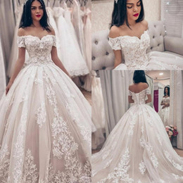 Sheer bodice feather wedding dreSS online shopping - Dazzling Tulle Off the shoulder Ball Gown Wedding Dresses With Lace Appliques plus size Wedding Gowns vestido de novia Bridal Gowns