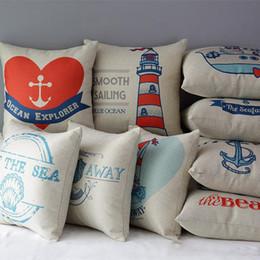 $enCountryForm.capitalKeyWord Australia - Hand Painting Sea Sailing Ship Anchor Cushion Covers Nautical Vintage Ocean Shell Conch Art Cushion Cover Linen Cotton Pillow Case