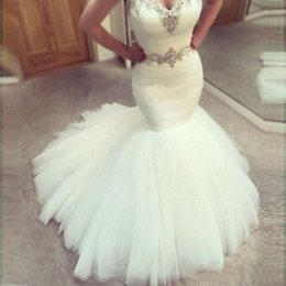 Empire Waist Crystal Beading Australia - Sexy Long Mermaid Wedding Dresses 2019 Sweetheart Sleeveless Country Tulle Beads Crystal Waist Modest Sheath Satin Plus Size Bride Dress