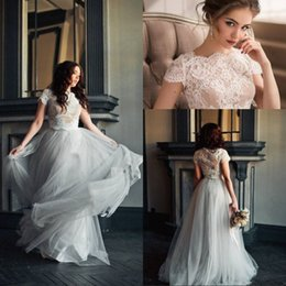 Best Modern Dresses NZ - Best Selling A Line Two Pieces Wedding Dresses Floor Length Silver Tulle Lace Top Bridal Wedding Gowns With Short Sleeve