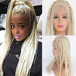 Discount synthetic blonde hair half wig - Braided Lace front Wigs with Baby Hair 613 Blonde Hair for Women Synthetic Heat Resistant Long Braids Wig Glueless Half