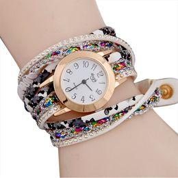 Wholesale Female Wrist Watches Australia - 2019 Vintage Women Watches Rhinestone Stud Leather Band Bracelet Watch Analog Quartz Wrist Watch Female Clock reloj mujer