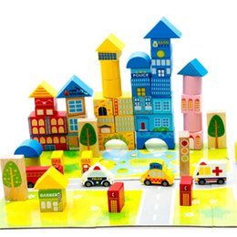 $enCountryForm.capitalKeyWord NZ - gift tee New 62pcs Safety color cartoon images city traffic scene wooden building blocks Children's birthday and Christmas gift
