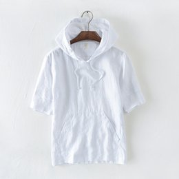Wholesale white t shirt hood online – design sleeve men s short t shirt with hood white black dark blue kahki hooded summer casual t shirts linen tees for men male s top