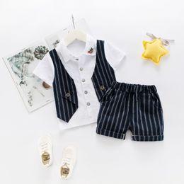 79329ac164f Summer Baby Boys Clothing Suits Fake Vest Short Sleeve T-shirt + Stripe  Shorts Vintage Little Gentlemen 2pcs Sets WEIXINBUY