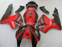 Injection Abs Fairings Australia - Injection ABS plastic fairing kit for Honda CBR600RR 05 06 red black fairings set CBR600RR 2005 2006 FF07