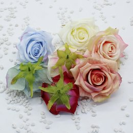 white rose garland wedding Australia - 9cm Silk Rose Heads Artificial Flowers DIY Wedding Decoration Garland Wreath Flower Wall White Red Pink Peach Blue Green Purple