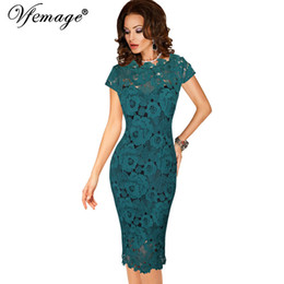 8ee0132fc8 Knee Length Fitted Evening Dresses UK - Vfemage Womens Elegant Sexy Crochet Hollow  Out Pinup Party