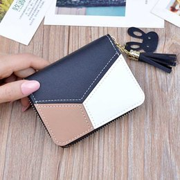 Pink cute wallet online shopping - New Leather Wallet Women Short Zipper Ladies Purse Money Bag Coin Pocket Patchwork Cute Women Wallets Clutch Card Holder W055
