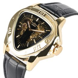$enCountryForm.capitalKeyWord Australia - Originality Hollow-out Automatic Mechanical Men Watch Luminous Function Watches Inventive Triangle Stainless Steel Case with Leather Strap