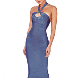 Blue Hollow Australia - Hashupha Hollow Out Ladies Clothing Sleeveless Bodycon Solid Knee Length Winter Dress Evening Party Sexy Club Blue Dresses