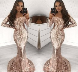 China Stunning Full Sequined Long Sleeve Champagne Mermaid Prom Dresses Off Shoulder African Black Girls Event Party Gowns Evening Dress Wear cheap off shoulder event dress suppliers