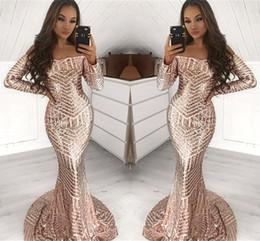 5623eaa7ceb Long stunning evening dresses online shopping - Stunning Full Sequined Long  Sleeve Champagne Mermaid Prom Dresses