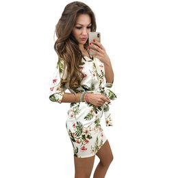 6faeb11fdfdc 2019 Autumn Vintage Women Dress Elegant Ladies Floral Plaid Print V Neck 3  4 Sleeve Waist Belt Bandage Mini Straight Dress