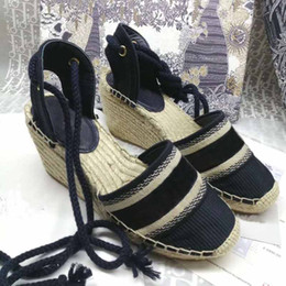 Wholesale sewing weave resale online - Fashion designer style ladies canvas new thick bottom straw fisherman weave wedge sandals summer beach embroidery strap high heel sandals