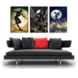 $enCountryForm.capitalKeyWord Australia - Catwoman Batman ,3 Pieces Home Decor HD Printed Modern Art Painting on Canvas  Unframed Framed