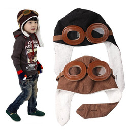 8394d2abb5014 Kids Pilot Aviator Cap Baby Aviator Hats Ear Flaps Ceanie Kids Black Brown  Pilot Cap Infant Winter Warm Caps