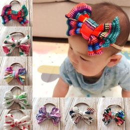 diy baby head bows Australia - New Europe Baby Girls DIY Bow Headband Kids Elastic Bowknot Hairband Children Bandanas Colorful Head Band Hair Accessory 8 Colors A329