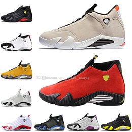 yellow gold men Australia - Best Quality Desert Sand Red Suede 14 14s Black Yellow Reverse Gold Mens Basketball Shoes Candy Cane Last Men Sports Designer Sneakers