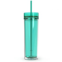 $enCountryForm.capitalKeyWord UK - Hot Sell !!Acrylic Skinny Tumblers with Lids and Straws 16oz Double Wall Clear Plastic Tumbler Multi Colors