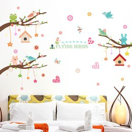 animal backgrounds NZ - Wall stickers new cartoon tree small animal children's room kindergarten background creative decorative wall stickers