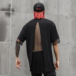 $enCountryForm.capitalKeyWord Australia - Men summer personality mesh patchwork fake two piece sexy t shirt back split punk rock tshirt nightclub DJ hip hop tees tops