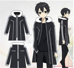 sword art kirito cosplay costume Australia - Sao Sword Art Online Kirito Kazuto Kirigaya Fleece Coat Jacket Cosplay Costume