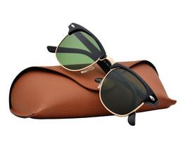 $enCountryForm.capitalKeyWord UK - Wholesale- 2019 Hot sale half frame sunglasses women men Club Master Sun glasses outdoors driving glasses uv400 Eyewear whit brown case