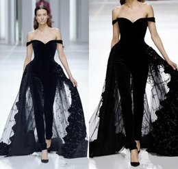 Women Fashion Jumpsuit Australia - 2019 Fashion Women Jumpsuits Black Off Shoulder Evening Dresses with Overskirts Tulle Lace Prom Dresses Custom Made Robes De Soirée