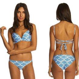 Blue Acrylic Diamond Australia - 2019 Hot Blue Diamond Prints lady swimsuit bikini New