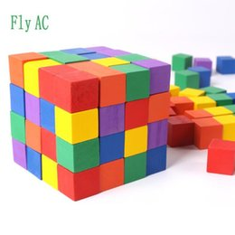 Wooden Cubes Children Toys Australia - Blocks 100 pcs set Wooden Cubic Brick Game 2cm Cubes DIY color Blocks Set Toys Wooden Educational Toys For Baby Children