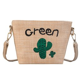 Wholesale Summer Hot Sale Summer Beach style Women Weave Embroidery Plant Bucket Crossbody Bag Shoulder Messenger Bag