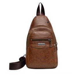 $enCountryForm.capitalKeyWord Australia - New British style men's chest bag PU leather solid color classic strap Messenger bag casual fashion shoulder