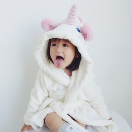 83161001a6 cute kids unicorn nightgowns baby girls bathrobe flannel nightdress long  sleeve hooded pajamas children night wear homewear clothes