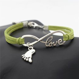 Wholesale Braided Grean Leather Rope Silver Infinity Love Baby Little Feet Wristband Wrap Cuff Charm Bracelet Bangles Fashion Women Men Jewelry Gift