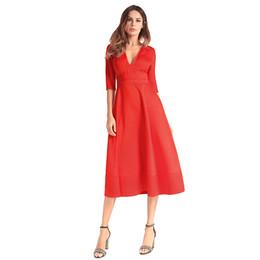 4134f8f40bb0 Women1950s 60s Vintage Dress Elegant Ladies Evening Gown Dress Satin V Neck  Half Sleeves High Waist Formal Midi Dress Vestidos