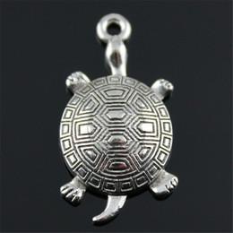 $enCountryForm.capitalKeyWord Australia - 100pcs Turtle Charm 2 Colors Antique Bronze Antique Silver Color Turtle Charms Pendants Sea Turtle Charm 34x28mm