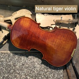 Musical Instruments Acoustic Australia - High quality handmade solid wood violin 4 4 beginner red light tiger violin 3 4 musical instrument with rosin bow box wholesale free shippin