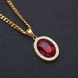 $enCountryForm.capitalKeyWord Australia - Mens Mini Ruby Pendant Necklace Gold Cuban Link Chain Fashion Hip Hop Necklaces Jewelry for Men