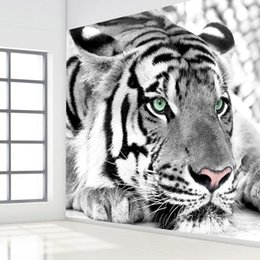 Rooms painted black online shopping - Custom D Photo Wallpaper Black White Animal Tiger Wall Painting Living Room Bedroom Entrance Background Wall Mural Wallpaper