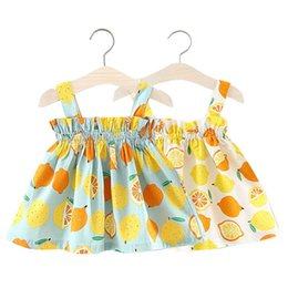 offers clothing Canada - Girls Lemon Braces Dresses Summer Kids Boutique Clothing Korean 1-4T Little Girls Cotton Suspender Dresses Special Offer