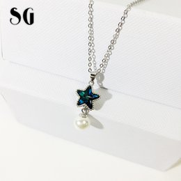 $enCountryForm.capitalKeyWord Australia - SG 925 sterling silver pearl and blue Colorful Austria crystal pentagram necklace fit fashion jewelry chains necklace for women