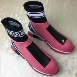 $enCountryForm.capitalKeyWord Australia - European station 2019 new spring and autumn printing letters knit socks stretch short boots casual couple Martin women's boots
